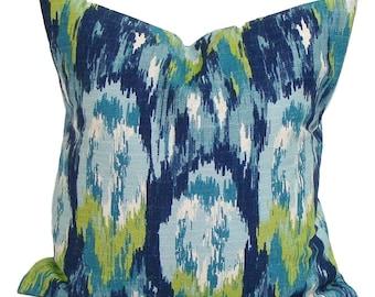GREEN BLUE PILLOW.22x22 Inch. Pillow Cover.Decorative Pillows.Housewares.Watercolor.Green.Blue.Cm.Tie Dyed Look.Blue Green Pillow.Cushion.cm