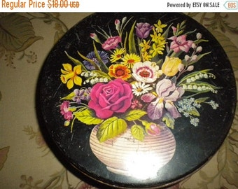 SUMMER SALE Lovely Round Flowered Vintage Tin, Eclectic Decor, Tin Collector, Sewing Box