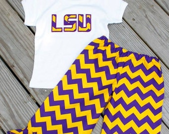 LSU PURPLE and GOLD chevron ruffled pant set. Top available in tank, short or long sleeves.