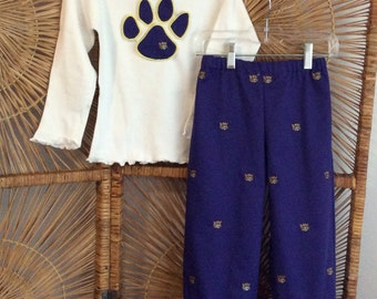 LSU TWILL PANTSET- purple twill with embroidered gold tigers. Ruffled pants paired with appliqued paw short or long sleeves, or tank