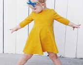 Mustard Yellow Cotton Knit Baby Toddler Tunic Ballet Dress