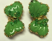 Vintage HOBE Green Mayorka Petals Earrings   Item: 20203