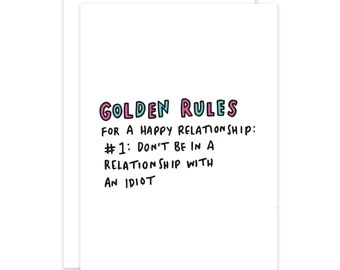 Golden Rules Funny Break Up Card