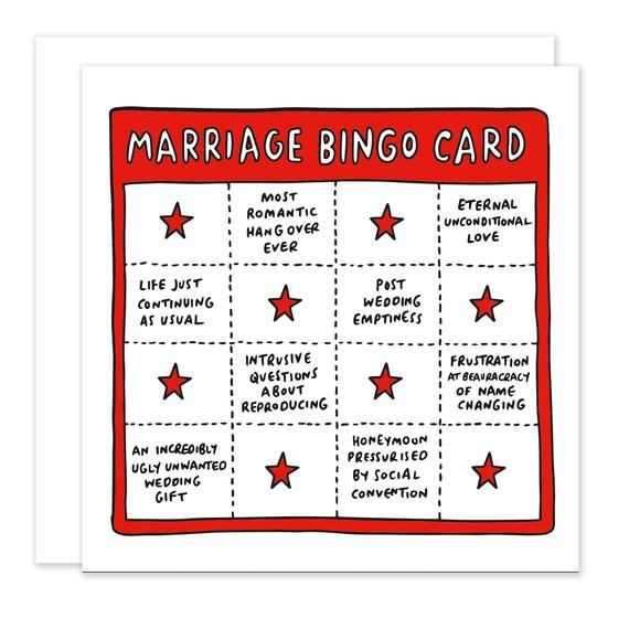 Huwelijk bingo card grappig sarcastische voor bruiloften