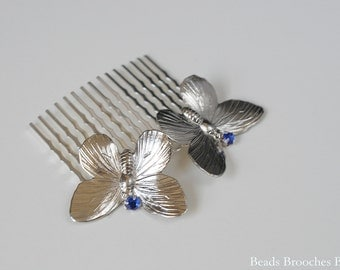 Butterfly Hair Accessory, Silver Butterfly Hair Comb Blue Rhinestone Comb, Bridal Hair Comb, Wedding Headpiece, Woodland Hair Accessory