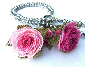 Necklace Handmade Pink Needle Lace, Also Special Design Tesbih, Tasbih, Tespih for Prayers N4