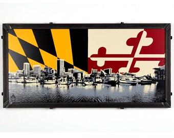 Baltimore Skyline w/ MD Flag Framed Silkscreen Print
