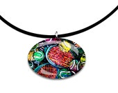 Tennis artwork, oval Glass tile pendant, handmade, unique, abstract, modern art, rainbow