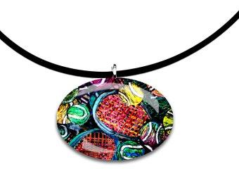 Tennis artwork, oval Glass tile pendant, handmade, unique, abstract, modern art, rainbow