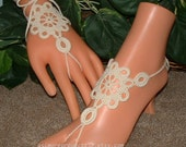 Lace Anklet, Lace Up Barefoot Sandal, Foot Jewelry, Victorian Bridal Anklets, Ivory or Gold, French Ankle Bracelet for Women,Wedding Sandals