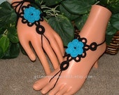 Black Turquoise Anklet, Barefoot Sandals, Foot Jewelry, Slave Anklets, Women's Shoes, Body Jewelry, Anklet