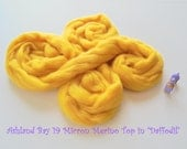 Dyed Merino Top from Ashland Bay - 2 oz of 19.5 Micron Color 19 Combed Top to Spin or Felt in Daffodil - Cheerful Yellow Merino Top