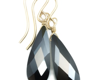 Black Cubic Zirconia Earrings Long Faceted Teardrop Briolette AAA CZ Sterling Silver or 14k Gold Filled Simple Classic Drops Dainty
