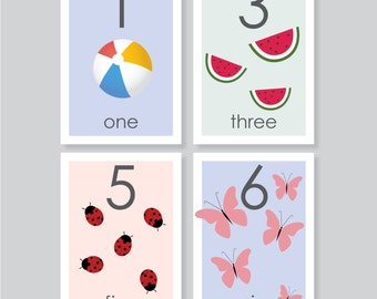 Number flashcard printable, 0-20, number, playroom wall art, 3.5x5, toddler learning