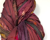 New for Fall Recyled Sari Silk Ribbon 542 Brown Burgundy Maroon Tassel Ribbon Bracelet Fair Trade Silk Fiber Art Felt Knit Crochet Supply