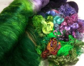 3.5 oz Merino Wool Art Batt Extra Mohair Locks Sari Silk Threads Needle Felt Doll Hair Reroot Costume Troll Angel Hair Fiber Art Supply