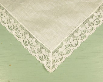 Lace Edge White Hankie - Vintage Wedding Bridal Handkerchief