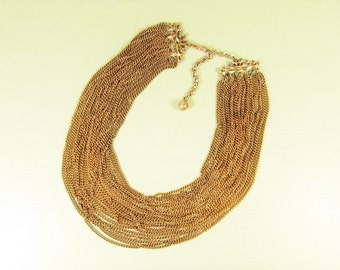 Multi Strand Chain Necklace - Vintage Gold Tone Adjustable Drape