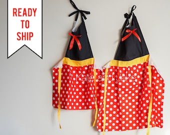 Minnie Mouse Apron Disney Apron Minnie Apron Kids Apron Toddler Apron Costume Apron Kitchen Apron Cooking Apron Polka Dot Apron Girls Apron