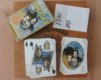 Vintage Victor Hugo 1885 1985 Playing Cards, French Card Game Made in France Grimaud