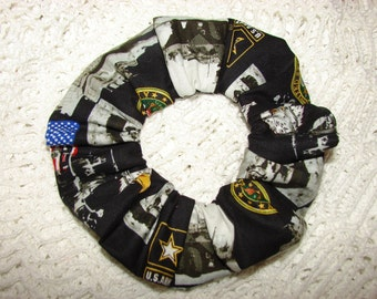 United States Army Fabric Hair Scrunchie, women's accessories, gifts for her, military US Army armed forces troops America USA scrunchies