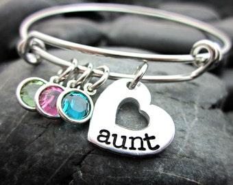 Adjustable Bangle Bracelet - Aunt's Bracelet - For Aunt - Heart and Birthstone