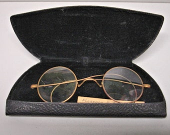 Antique Metal Wire Frame Eye glasses Round Lens Edwardin Style Marked S.P.A. Lot no. 5