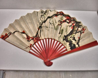 Women Hand Held Bamboo Cherry Blossom Fan Women Fans Bamboo and Paper