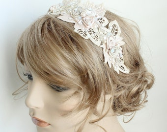 Boho Headband- Blush headband- Bridal Headband- Champagne Hairpiece- Lace Headband- Blush Bridal Headband-Wedding Headband- Hair Accessories