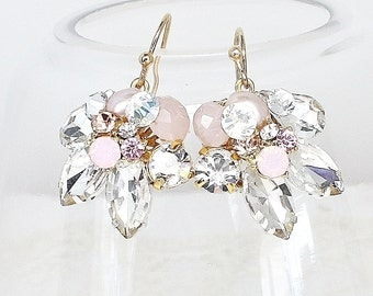 Blush Bridal Earrings- Blush Dangle Earrings- Pink Wedding Earrings-Blush Wedding Wire Earrings-Blush Vintage Inspired Earrings-Brass Boheme