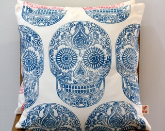 Turquoise Sugar Skull hand block printed decorative scatter cushion cover