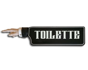 Vintage Toilette Directional Sign with Hand Relief