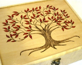 Autumn Tree of Life Wooden Watch Box or Tea Chest: Large Divided Hardwood Box for Jewelry Box, Valet Box, Watch Chest or Storage