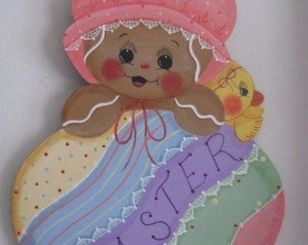 Easter, Gingerbread, baby, egg, chick, handpainted, wall hanging, wall decor, door decor