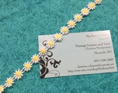 1 yard of 1/2 inch Daisy White and Yellow flower venise lace trim for scrapbooking, jewelry, housewares, couture by MarlenesAttic - Item 9FF