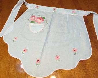 Vintage White and Pink embroidered kitchen apron pattern by MarlenesAttic