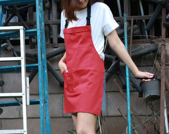 Red canvas utility apron/Red sturdy apron/Red unisex apron/sturdy & skinny apron/cafe apron/custom made apron, red