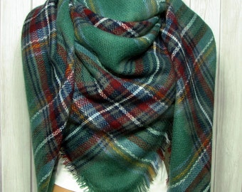 Sat-Sun SALE Blanket Scarf for Women, Green, Red, Blue Plaid, Women's Gifts Zara Tartan Inspired, Oversized Large Unique Winter Scarves
