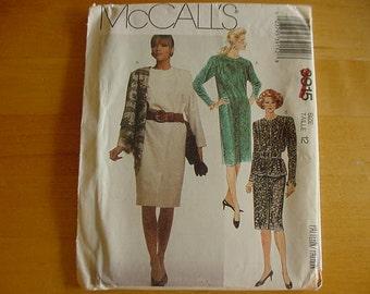 """Vintage 1980s McCalls Pattern 3915, Misses 1 Piece and 2 Piece Dress, Variations, Misses Size 12, Bust 34"""",  UNCUT"""