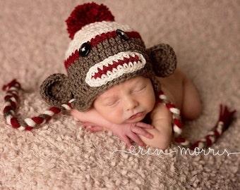 Sock Monkey Hat, Classic Sock Monkey Hat, Baby Sock Monkey Hat, Brown Sock Monkey Hat, Newborn Photo Props, Red Sock Monkey, Boys or Girls