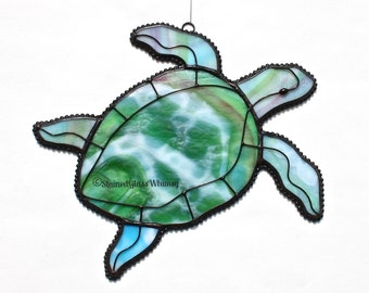 Stained Glass SEA TURTLE Suncatcher - Greens, Raspberry Pinks, White, Turquoise - USA Handmade Original Design