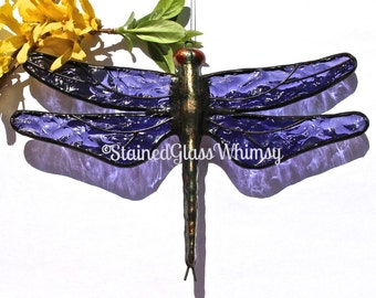 Stained Glass DRAGONFLY Suncatcher - Deep Violet / Blue-Purple Wings, Textured - USA Handmade, Purple Dragonfly, Purple Dragonfly Suncatcher