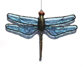 Stained Glass Ice Blue DRAGONFLY Suncatcher, Glacier Ice, Sparkling Light Ice Blue, Iridescent Wings & Handcast Metal Body, USA Handmade