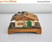 ON SALE Vintage Mid Century Wooden Wind up Music Box Made in Austria