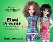 60s Mod dress clothes pattern for Slim 1/4 MSD BJD: Minifee, Kid Delf, Soulkid, Hujoo, Ellowyne Wilde