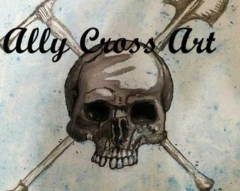 """Fine Art Print """"Miner Skull"""" Skeleton Painting by Ally Cross"""