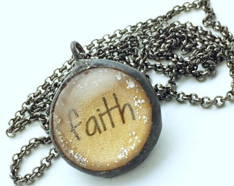 FAITH Necklace, Soldered Glass Bubble Charm Necklace, Soldered Glass Necklace, Religious Gift, Inspirational Jewelry, Kyleemae Designs
