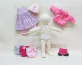 """SALE 11"""" Eco friendly soft hemp linen doll with purple and pink outfits and diapers all machine washable"""