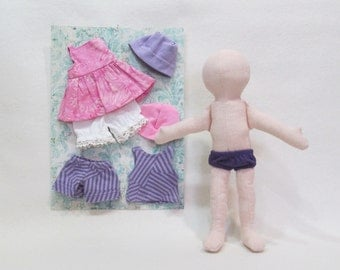 """SALE 11"""" Eco friendly soft hemp linen doll with purple and pink outfits all machine washable"""