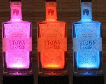Town Branch Kentucky Bourbon Whiskey, Remote Control lamp, Color Changing LED, Bottle Lamp,  Bar Light, Liquor Bottle Lamp,
